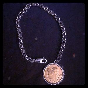 NEW - Sterling Silver, Angel Coin Bracelet